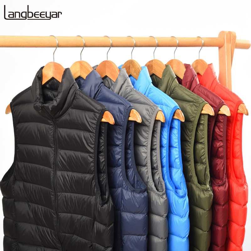 2020 Winter 90% Duck Down Fashions Waistcoat Down Jacket Men's Warm Packable Sleeveless Feather Coats Light Jacket Mens Clothing