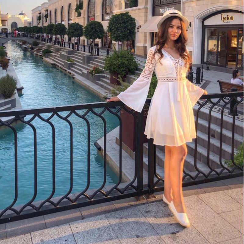 חלול החוצה לבן שמלה סקסי נשים מיני שיפון שמלת כריס צלב חצי sheer לצלול V-צוואר ארוך שרוול סרוג תחרה שמלה שחור
