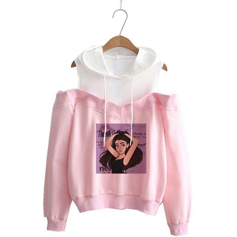 New Ariana Grande Womens Hoodie Fashion Strapless Casual Sports