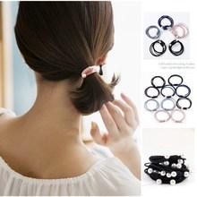 купить New Style 10Pcs/Set Ribbon Bowknot Hair Ropes Rubber Band Cute Hair Tie Bow Star Elastic Hair Band Women Girls Hair Accessories по цене 319.14 рублей