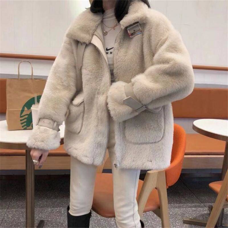 Winter Big Pocket Women Faux Fur Coat Ladies Casual Warm Zipper Elegant Outwear Female Faux Mink Fur Jacket