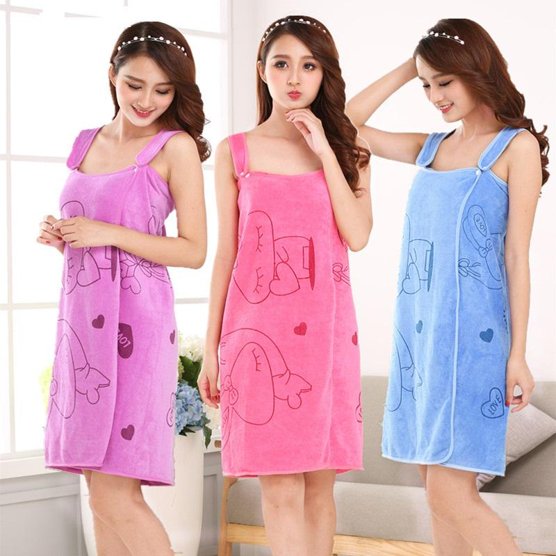 Newly Women Fast Drying Rabbit Wearable Bath Towel Shower SPA Wrap Body Beach Bathroom Bathrobe