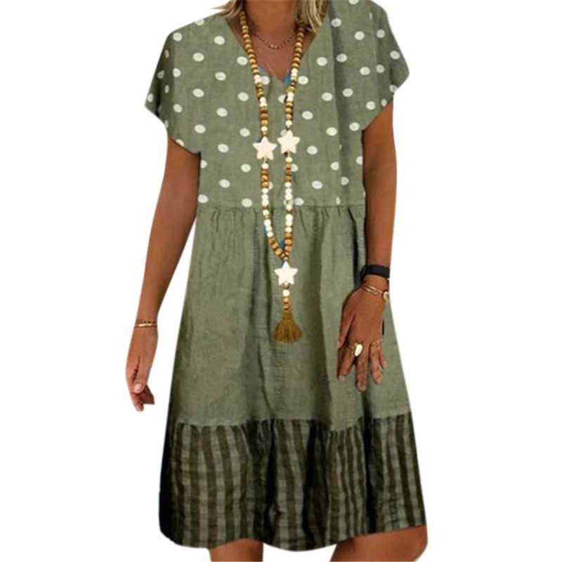 Vicabo 2020 Mode Zomer Jurk Losse Bloemen Pathcwork Vintage V-hals Dames Jurk Casual Jurken Plus Size # W