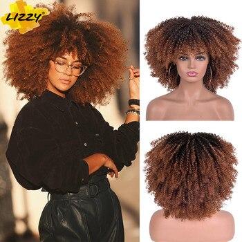 Pelucas Afro rizadas de pelo corto con flequillo para mujeres negras, cabello...