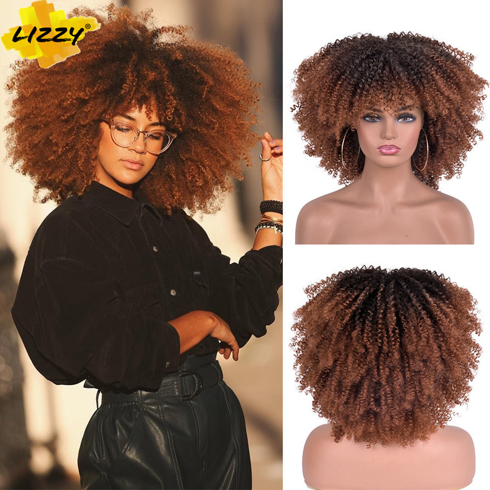 Cabelo curto afro kinky encaracolado perucas com franja para preto feminino africano sintético omber glueless cosplay perucas de alta temperatura lizzy