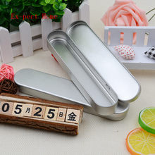 100pcs Rectangle Silver Tin Pencil Case Pen Storage Box Stationery Organizer School Office Use(China)