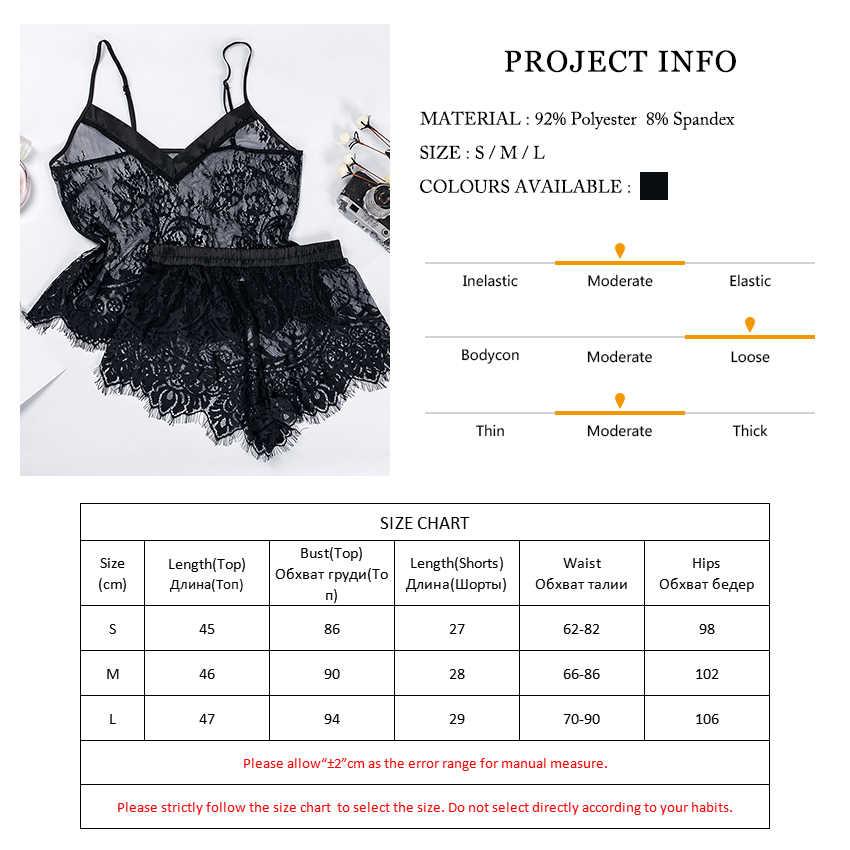 Suphis Zwarte Mesh Kant V-hals Sheer Nachtkleding Mouwloze Top Cami Shorts Pj Set 2019 Sexy Dames Camis Vrouwen Pyjama sets
