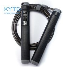 Kyto pular corda contador digital para indoor/outdoor fitness formação boxe ajustável caloria pular corda treino