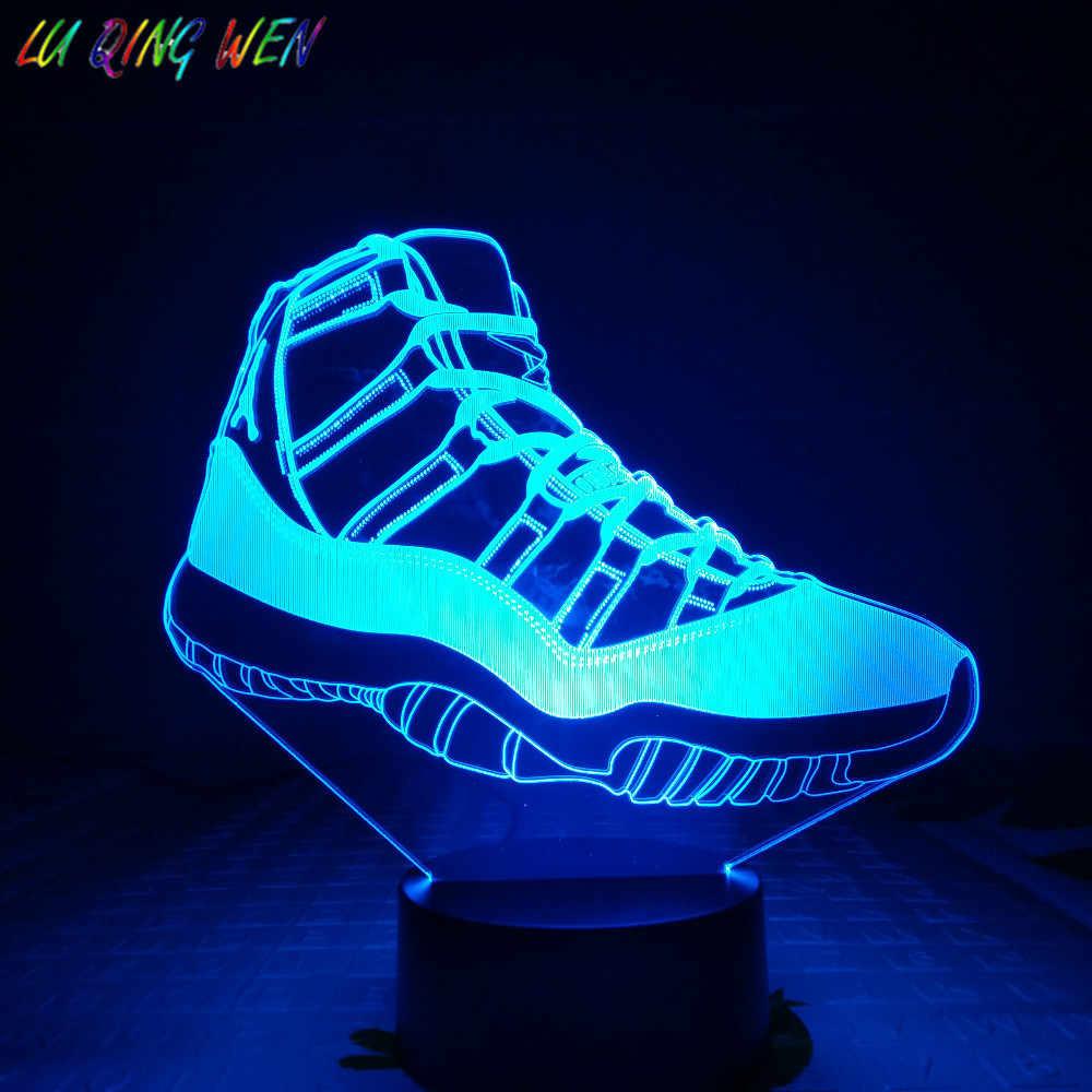 Sneaker Jordan AJ 11 Kids Night Light Led Basketball Michale Jordan Home Decoration Light Child Present Bedside Table Lamp 3D