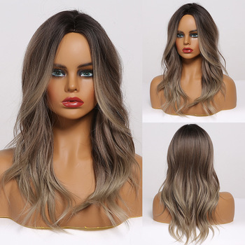 ALAN EATON Synthetic Hair Ombre Black Brown Gray Medium Water Wave Wigs for Women Middle Part Heat Resistant Fibre - discount item  40% OFF Synthetic Hair