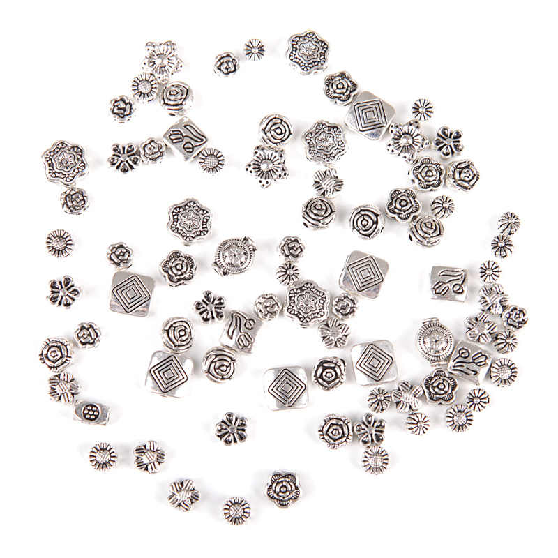Mixed Größe Metall Blume Diy Besds Charme Antike Silber Rose Spacer Perlen Erkenntnisse für Schmuck Machen Frauen Armband Zubehör