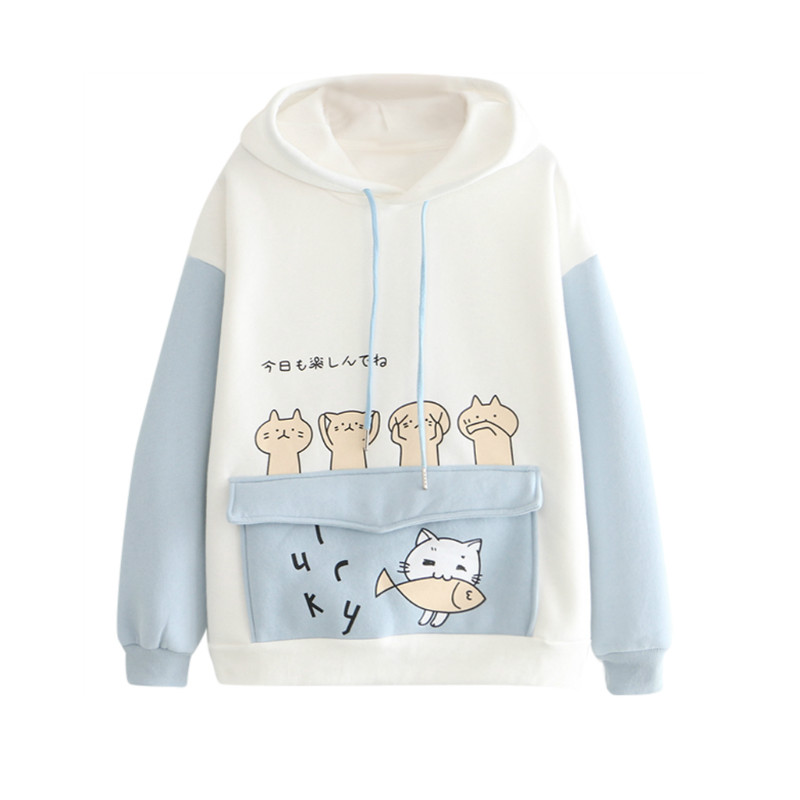 2020 Women's Harajuku Cartoon Cat Fish Hoodies Sweatshirts Cotton Velvet Hooded Sweatshirt With Ears On Hood Pullovers Pocket