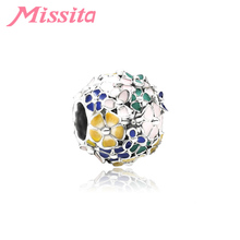 MISSITA 2019 New Colorful Flower Charms fit Pandora Bracelets for Women Jewelry Making Accessories