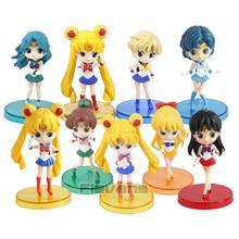 Q posket Sailor Moon Mercury Mars Jupiter Venus Neptune Uranus PVC Figures Toys 3pcs/set 8cm