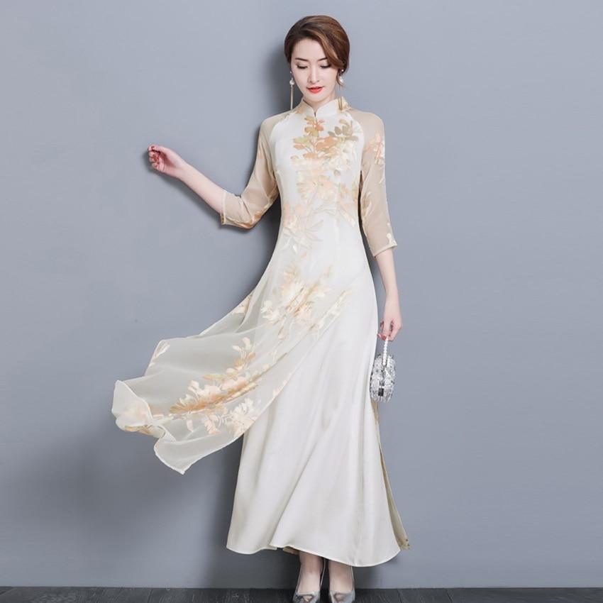 Вьетнамское платье для женщин Ao Dai 2020 Весна Лето Новое элегантное платье с цветочным принтом традиционное народное платье Ципао азиатская о...