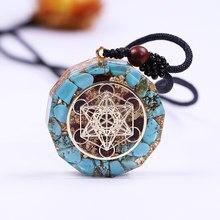 Natural Turquoises Orgonite Pendant Reiki Healing Energy Generator EMF Radiation Protection Necklace Jewelry