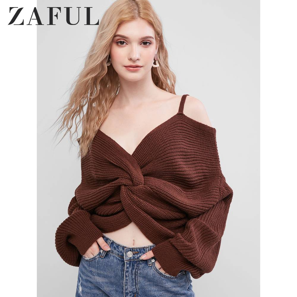 ZAFUL Twisted V Neck Open Shoulder Pullover Sweater 8 Colors Women Jumpers Autumn Casual Tops Long Sleeve Knitted Sweaters 2019