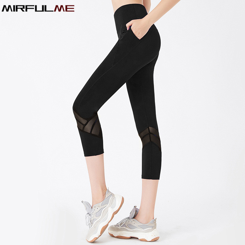 Women Leggings Sport Cropped Yoga Pant High Waist Capris Mesh Patchwork Pant 3/4 Running Trousers Female Crop Gym Fitness Tights