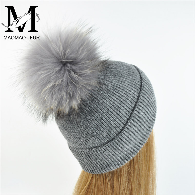 New Women's Hat Winter Beanie Knitted Hat Angora Rabbit Fur Bonnet Girl 's Hat Fall Female Cap with Fur Pom Pom Tops 1