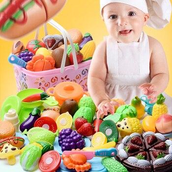Juguete de cocina para bebés y niños, juguetes de frutas y verduras, juego de cocina de simulación, vajilla, regalo de comida falsa para niñas