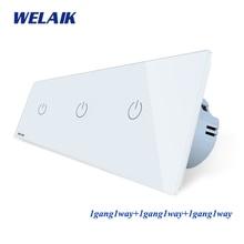 Welaikブランド 3Frame Crystalガラスパネルeu壁スイッチeuタッチスイッチ画面ライトスイッチ 1gang1way AC250V a39111111CW/b