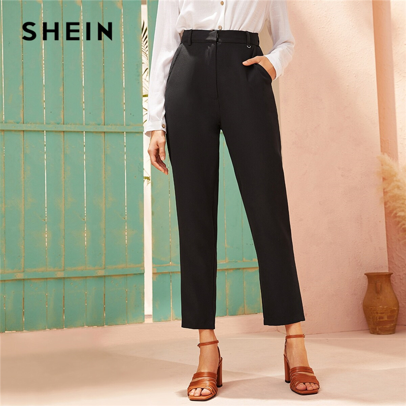 SHEIN Black High Waist Solid Straight Leg Pants Women Autumn Zipper Fly Solid Office Ladies Elegant Cropped Tailored Trousers