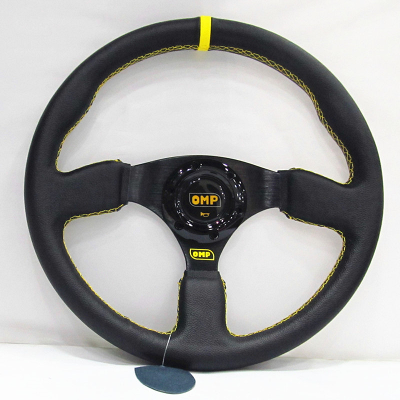 high quality 14 (350mm) For OMP Racing Steering Wheel leather yellow or red line game flat Steering Wheel
