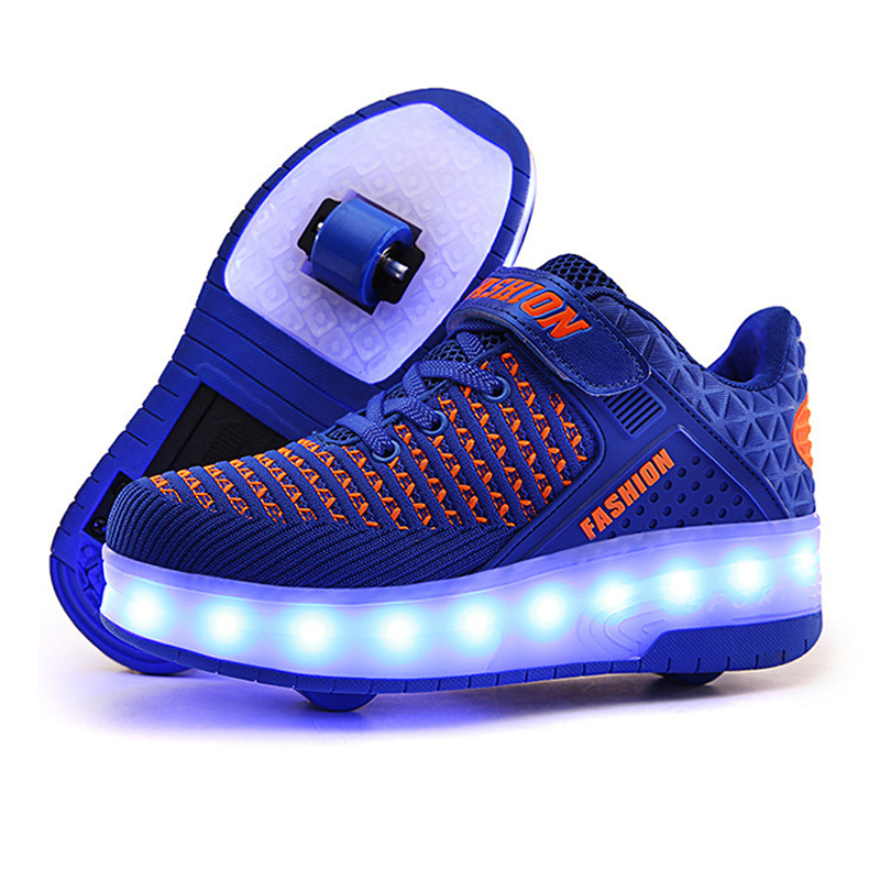 Size 28-40 Kids Roller Sneakers Boys LED Light Up Shoes with Double Wheels USB Charging Skate Shoes for Children Boys Girls