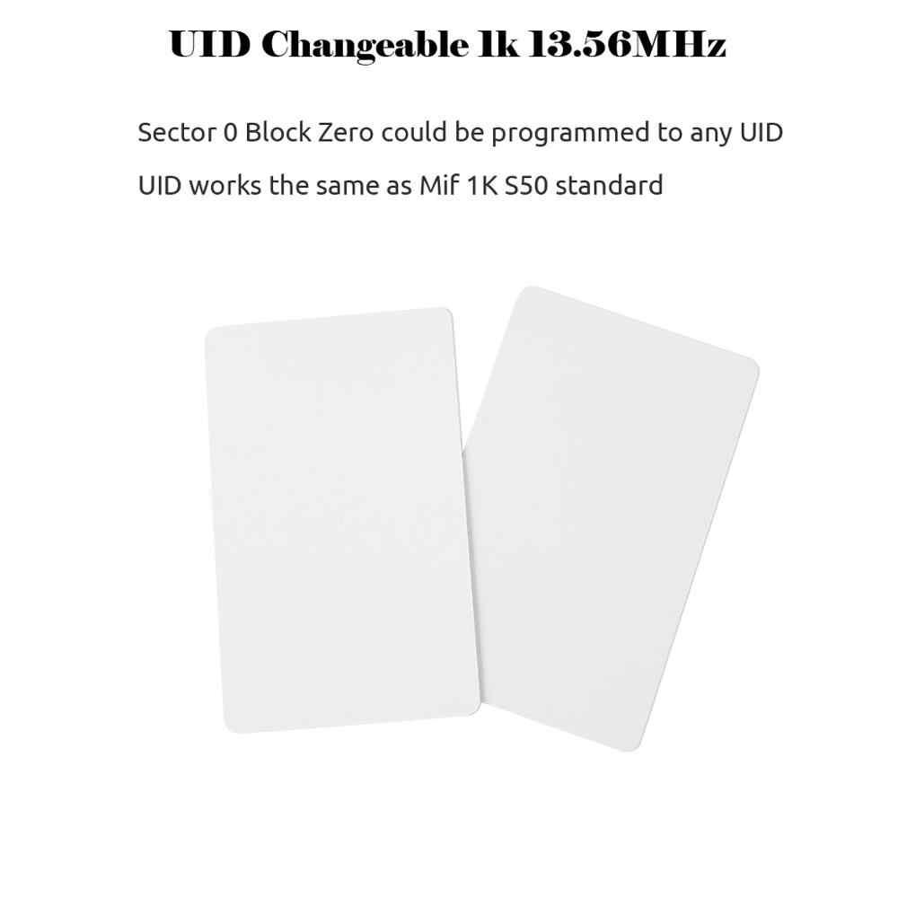 100 adet UID kart 13.56MHz blok 0 sektörü yazılabilir IC kartları klon değiştirilebilir akıllı Keyfobs anahtar etiketleri 1K s50 RFID erişim kontrolü