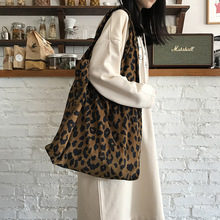 Angelatracy 2019 New Arrival Korean Fashion Leopard Print corduroy Bag Cheap Shopping Shoulder Girl Womens Bags Tote