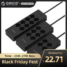 ORICO Ổ Cắm Điện EU Cắm Nối Dài Ổ Cắm Chống Sét Bảo Vệ Nguồn Châu Âu Dây Với 5x2.4A USB Siêu Cổng Sạc