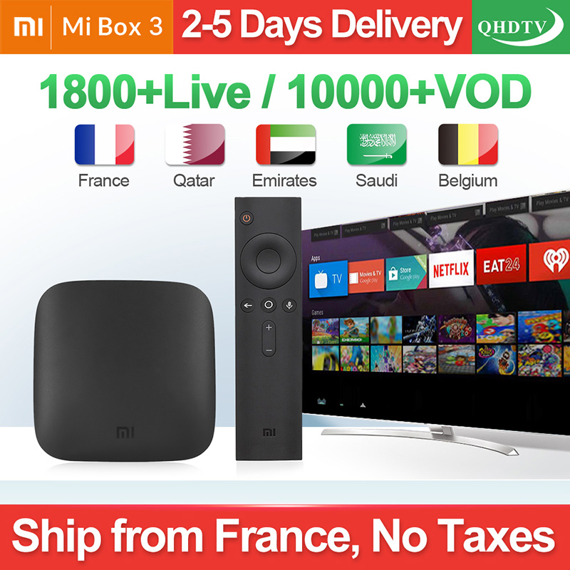 IPTV Frankreich Box Mi Box 3 4K HDR Android 8.1 2G 8G WIFI Google Cast Netflix Youtube mit QHDTV IPTV 1 Jahr Arabisch Französisch IP TV