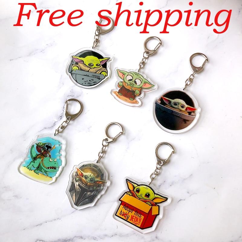 6 Pieces Yoda Baby Cartoon Keychain Women And Men Key Chain Cute Anime Cartoon Kids Key Ring Gift