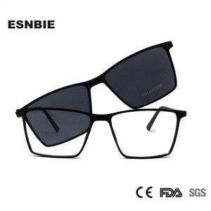 Image 1 - ESNBIE Ultralight TR90 Magnetic Eyeglasses Frame Women Spectacles Polarized Clip On Sunglasses For Men Square Oculos De Grau