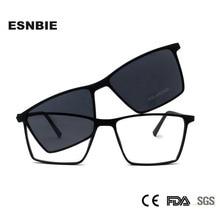 ESNBIE Ultralight TR90 마그네틱 안경 프레임 여성 안경 남성용 선글라스에 편광 된 클립 Square Oculos De Grau