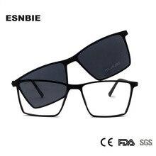 ESNBIE Ultralight TR90 manyetik gözlük çerçevesi kadın gözlük polarize güneş gözlüğü üzerinde klip erkekler için kare Oculos De Grau