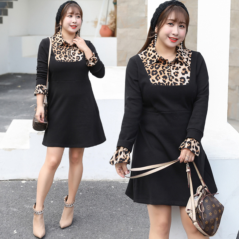 Winter New Style Plus-sized Large GIRL'S Large Size Dress Cool Leopord Pattern Splicing Dress A Generation Of Fat 1550