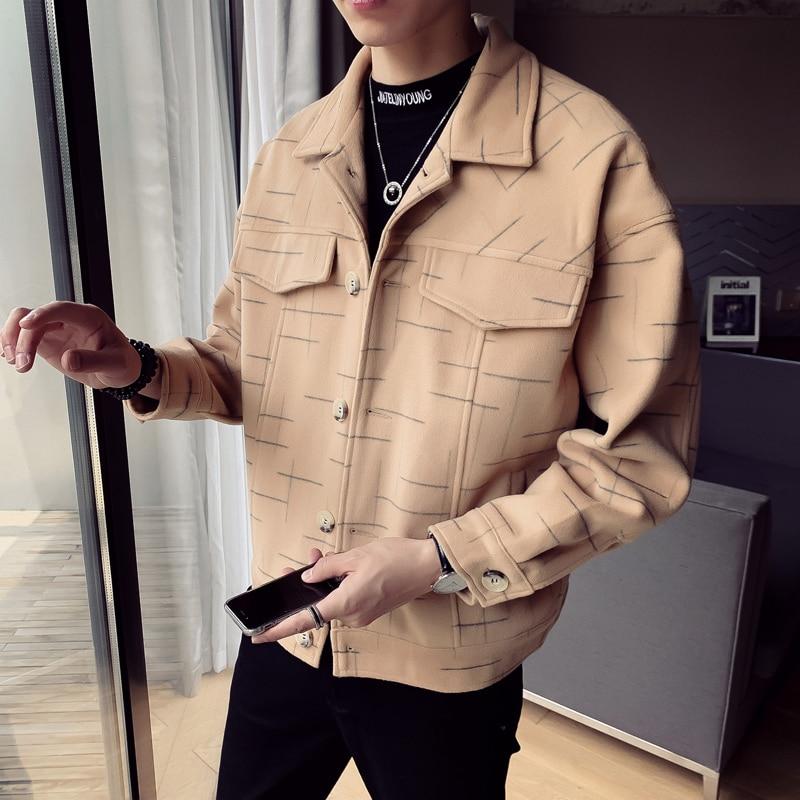 Autumn and Winter Woolen Mens Coats Korean Short Windbreaker Jacket Casual Fashion Men Overcoat Wool Blends Loose Coat Clothing