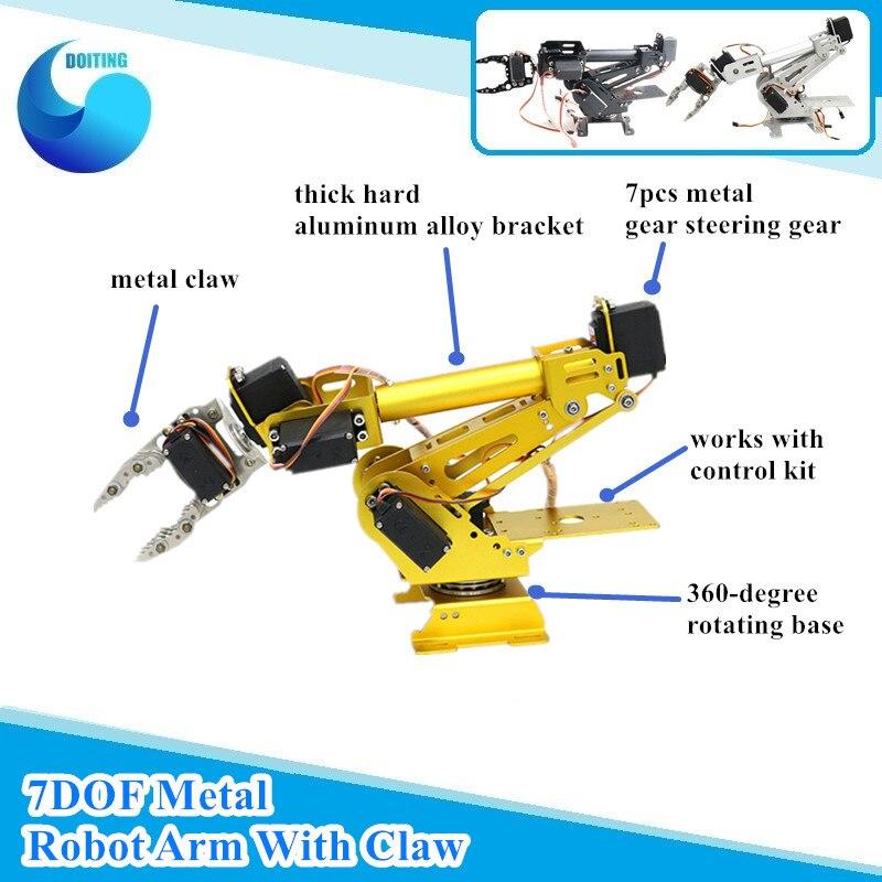 7 DOF Metal Robot Arm 6 Axis Mechanical Robotic Arm with 7pcs High torque Servos+Metal Clamp+Rotation Base for Arduino Robot DIY