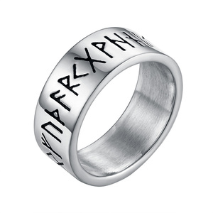 Valily Antique Silver--Color Retro Viking Rune Ring Stainless Steel Amulet Vintage Norse Rune Rings Male Jewelry For Women