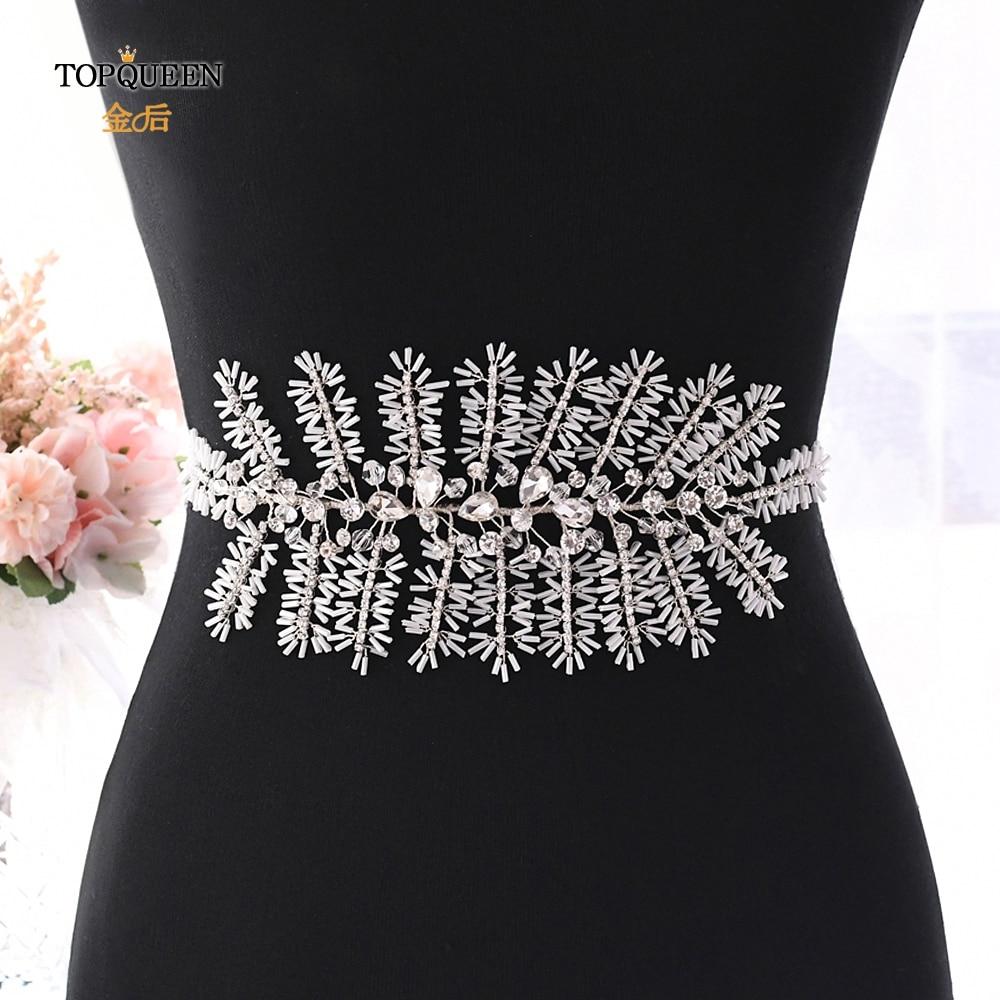 TOPQUEEN SH247 Silver Diamond Belt Wedding Dress Sash Sparkly Belts For Women Dressy Rhinestone Belts Sparkle Belt For Dresses