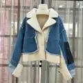Denim jas lange mouw natuurlijke echte schapen fur coat winter vrouwen turn down kraag bovenkleding dikke warme kleding parka echt bont