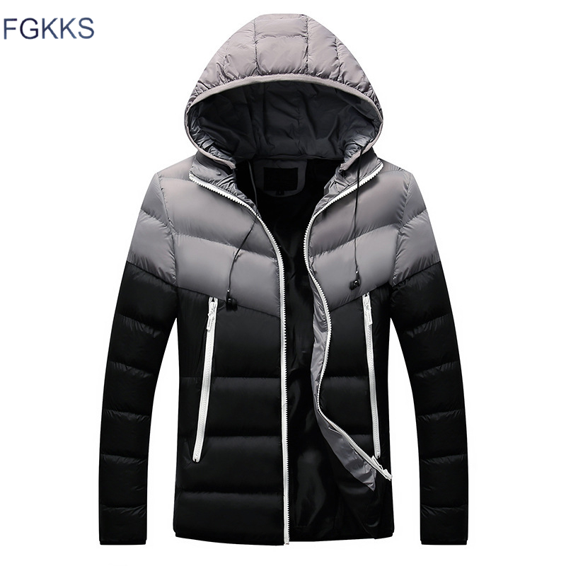 FGKKS Men High Quality   Parkas   Coats Winter New Arrival Male Hooded Comfortable Warm Jacket Paraks Men's Splice Fashion   Parka