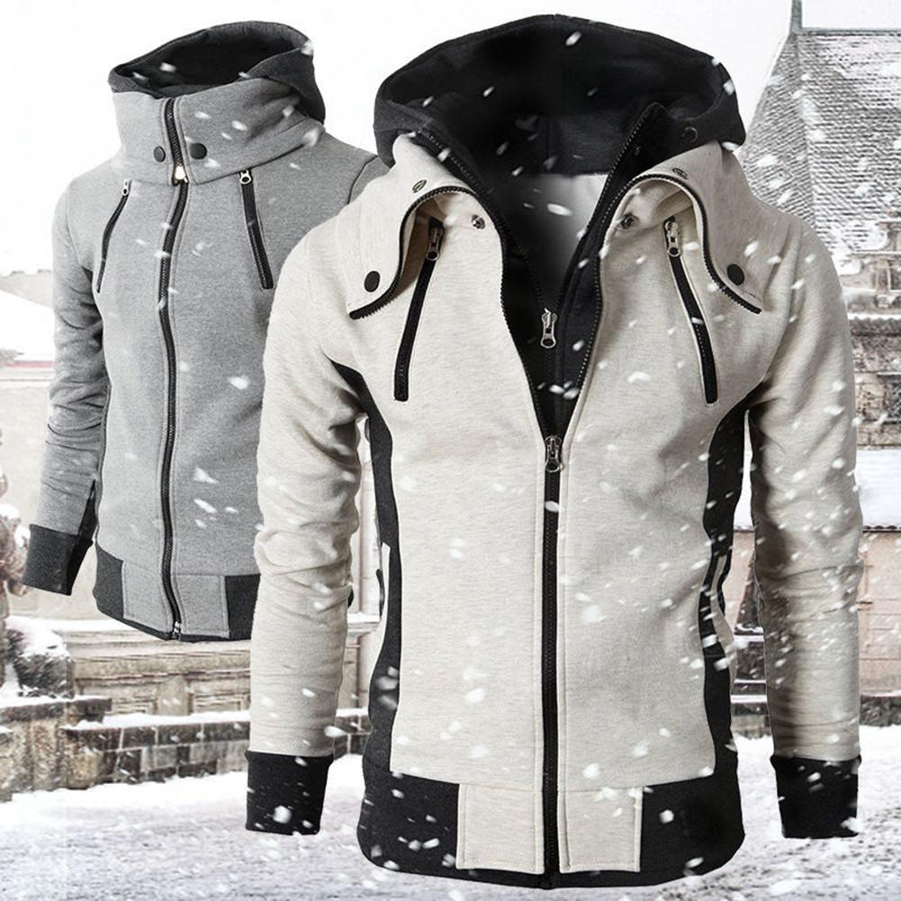 Plus Size Chic Men Fake 2 Pieces Color Block Hooded Long Sleeve Zip Jacket Coat
