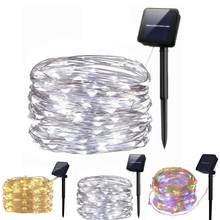 10m 100leds luz da corda luz solar ao ar livre decorativa lâmpada de natal dwaterproof água