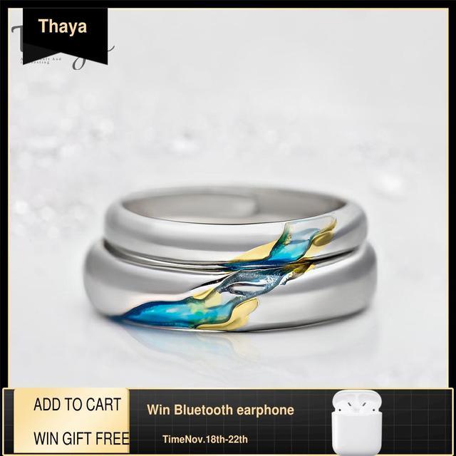 Thaya s925 prata casal anéis a outra costa design estrelado anéis para homens feminino símbolo resistível amor jóias de casamento presentes