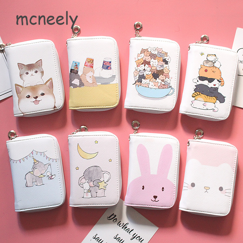 8 Kinds Of Lovely Cats Women's Fashion Prints Short  Wallets Clutch Phone Bag PU Leather Zipper Ladies Card Holder Coin Purse