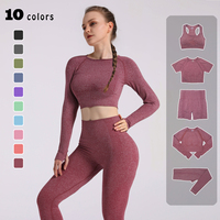 Женский бесшовный комплект для йоги укороченный топ и леггинсы 1