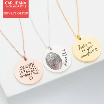 CARLIDANA Custom Round Card Lettering Graphic Necklace Titanium Steel 14K Rose Gold Plated DIY English  Birthday Clavicle Chain