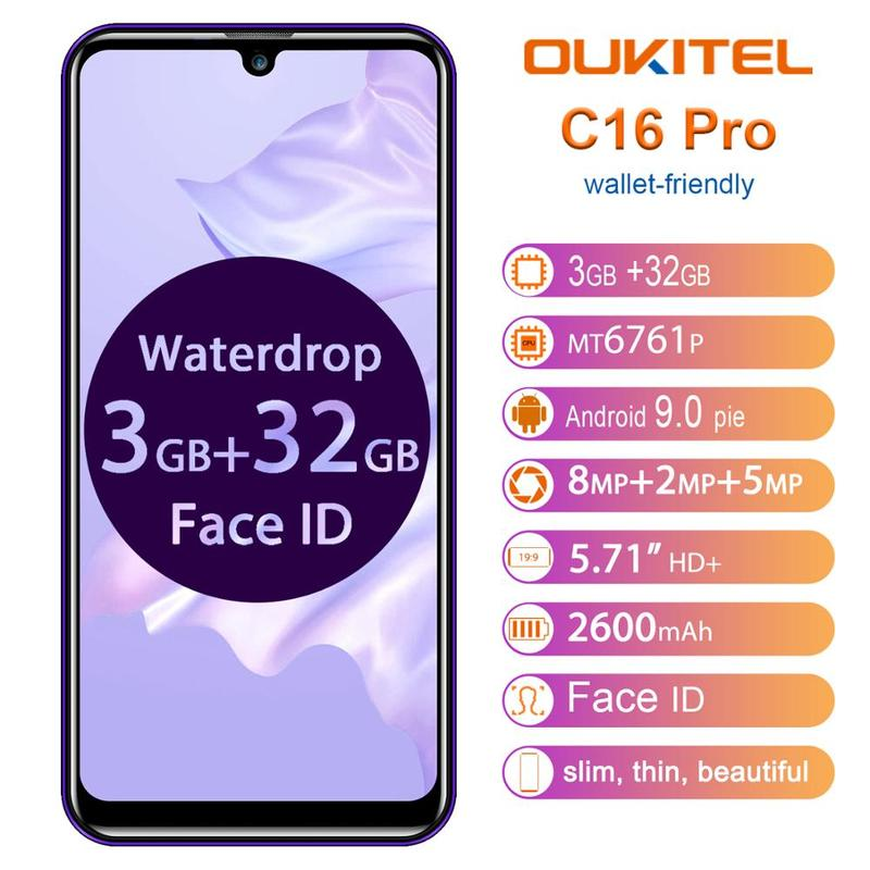 "OUKITEL C16 PRO SmartPhone 3GB RAM 32GB ROM 5.71"" 19:9 Waterdrop Screen Android 9.0 Pie Quad Core 8.0MP Face ID 4G LTE Phone"